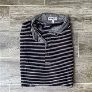 Men's Express Fitted Striped Polo Shirt XL